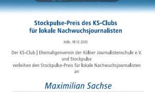 Stockpulse stiftet Preis für Nachwuchsjournalist Maximilian Sachse